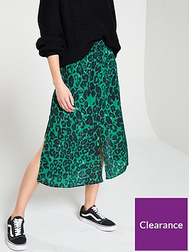 wallis-leopard-print-skirt-green