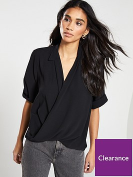 v-by-very-mock-wrap-dip-back-blouse-black