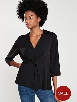 v-by-very-buckle-front-soft-collared-blouse-black