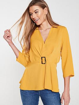 v-by-very-buckle-front-soft-collared-blousenbsp--mustard