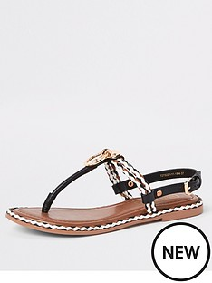 d0d8d6e4c22e River Island River Island Ring And Rope Leather Sandal - Black
