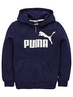 puma-essentials-fleece-zip-through-hooded-jacket-navy
