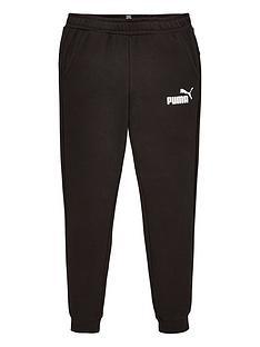 puma-essentials-childrens-slim-fleece-logo-sweat-pants-black