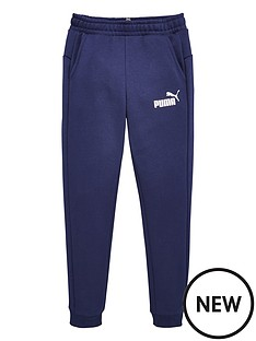 puma-essentials-slim-fleece-logo-sweat-pants-navy