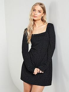 v-by-very-square-neck-tea-dress-print