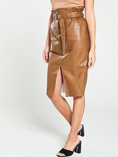 river-island-river-island-paperbag-waist-pu-midi-skirt--tan