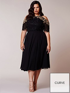 virgos-lounge-curve-virgos-lounge-curve-embellished-cold-shoulder-skater-midi-dress