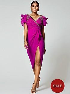 virgos-lounge-frill-sleeve-embellished-midi-dress-pink