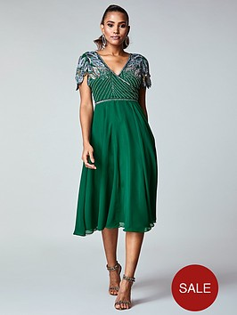 virgos-lounge-wrap-front-embellished-midi-dress-green