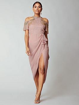 virgos-lounge-embellished-cold-shoulder-midi-dress-blush