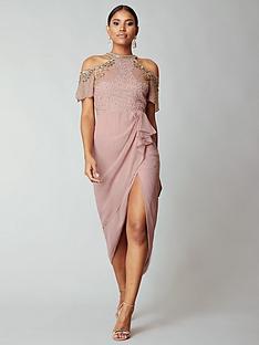 virgos-lounge-virgos-lounge-embellished-cold-shoulder-midi-dress