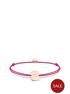 thomas-sabo-thomas-sabo-little-secrets-18k-rose-gold-plated-sterling-silver-heart-disc-pink-adjustable-bracelet