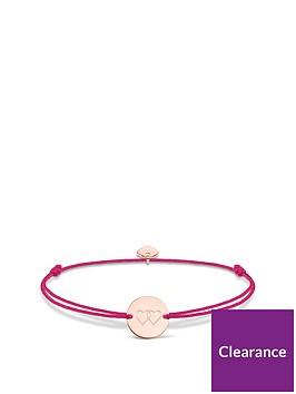 thomas-sabo-thomas-sabo-little-secrets-18k-rose-gold-plated-sterling-silver-heart-disc-pink-adjustable-bracelet