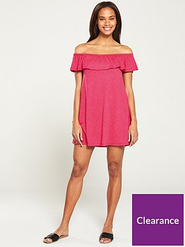 v-by-very-bandeau-frill-beach-dress--nbspruby-pink