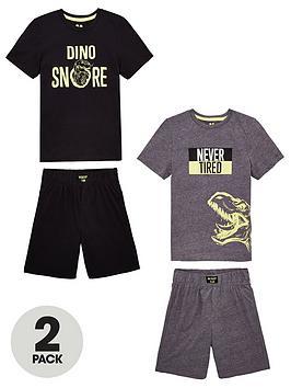 v-by-very-boys-2-pack-dinosnore-pyjamas-blackgrey