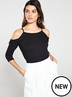 v-by-very-eyelash-lace-cold-shoulder-high-neck-top-ndashnbspblack