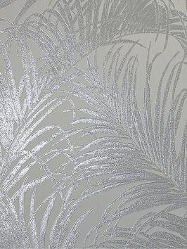 ARTHOUSE Arthouse Kiss Foil Palm Leaf Wallpaper &Ndash; Silver Grey Picture