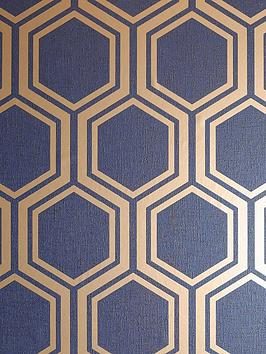 ARTHOUSE Arthouse Luxe Hexagon Navy &Amp; Gold Wallpaper Picture