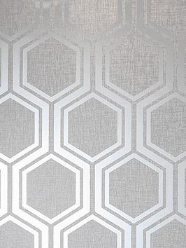 ARTHOUSE Arthouse Luxe Hexagon Silver Wallpaper Picture