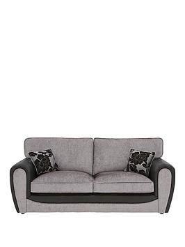 Very Fleur Fabric And Faux Snakeskin 3 Seater Standard Back Sofa Picture
