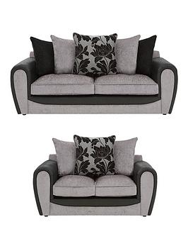 Very Fleur Fabric And Faux Snakeskin 3 Seater + 2 Seater Scatter Back Sofa  ... Picture