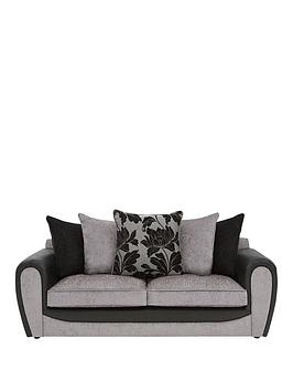 Very Fleur Fabric And Faux Snakeskin 3 Seater Scatter Back Sofa Picture