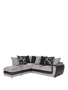 Very Fleur Fabric And Snakeskin Left Hand Corner Chaise Scatter Back Sofa  ... Picture