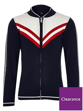 river-island-boys-chevron-knit-bomber-jacket-navy