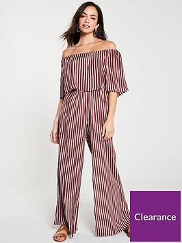 river-island-river-island-stripe-bardot-frill-jumpsuit--red-stripe