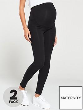 v-by-very-valuenbsp2-pack-maternity-legging-black