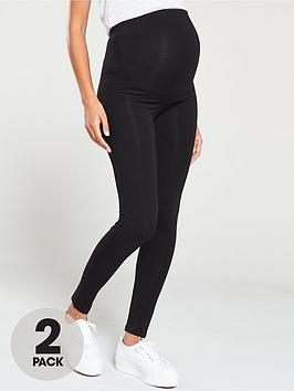 V by Very V By Very 2 Pack Maternity Legging - Black Picture