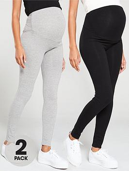 V by Very V By Very 2 Pack Maternity Legging - Black Grey Picture