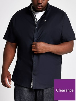 river-island-short-sleeve-navy-big-tall-oxford-shirt