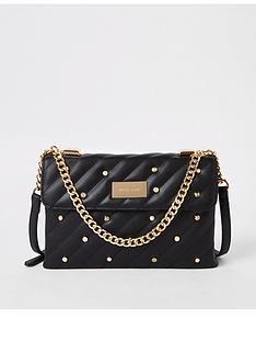 river-island-river-island-pearl-detail-quilted-bag-black