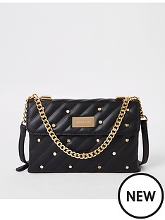 River Island River Island Pearl Detail Quilted Bag - Black 77ab0d51ad70c