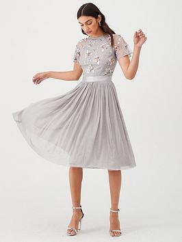 V by Very V By Very Embellished Tulle Bridesmaid Prom Dress - Grey Picture