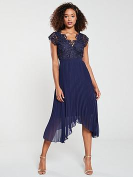 V by Very V By Very Bridesmaid Lace Pleated Occasion Dress - Navy Picture