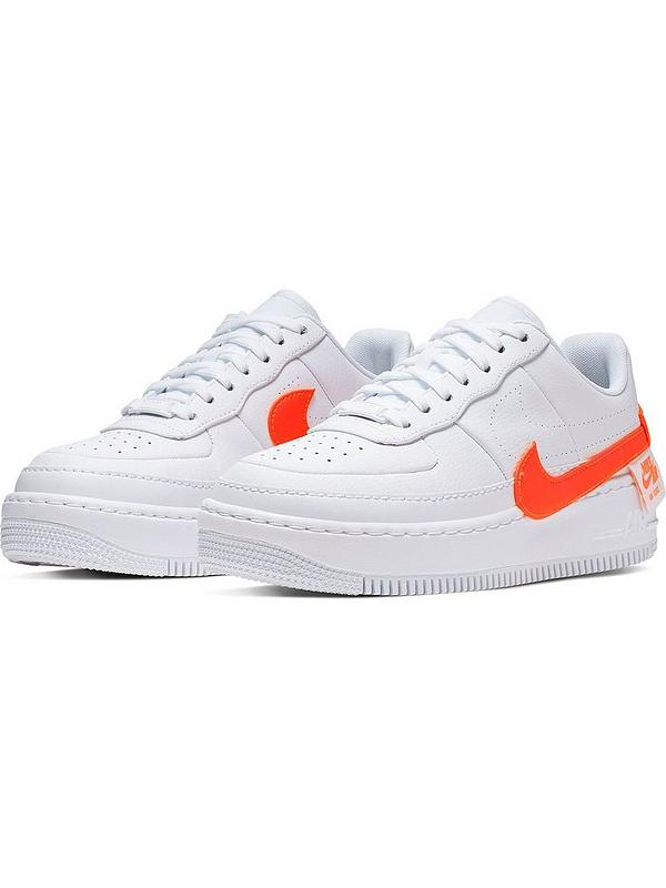 nike white & orange air force 1 jester trainers
