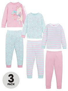 v-by-very-girls-3-pack-unicorn-pyjamas-multi