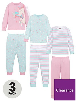 v-by-very-girls-3-pack-unicorn-pyjamas-multi