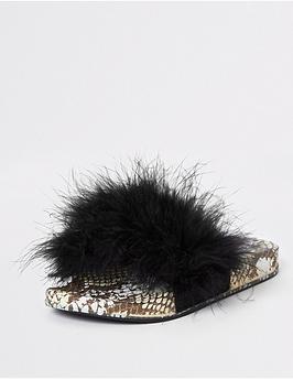 river-island-girls-snake-print-faux-fur-sliders-black