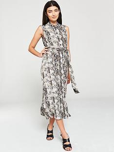 warehouse-snake-print-midi-shirt-dress-multi
