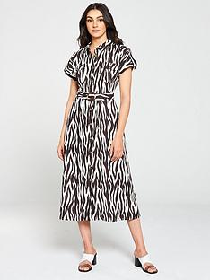 warehouse-zebra-button-front-dress-multi
