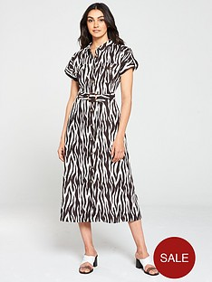warehouse-zebra-button-front-dress-multi