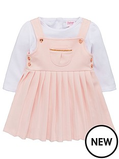 ca821e00d1ba Baker by Ted Baker Baby Girls Ponte Pinafore Dress And Top - Light Pink