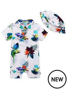 1c202fc5a Baker by Ted Baker Baby Boys Tropical Print Romper And Hat - White