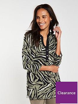 wallis-khaki-zebra-jersey-shirt