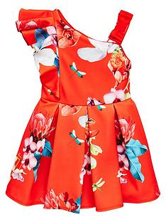 a78e7bf0e Baker by Ted Baker Girls Scuba One Shoulder Dress - Red