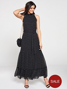wallis-spot-tiered-halter-maxi-dress-monochrome