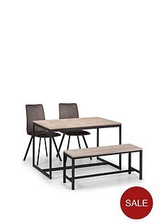 005046ae42 Julian Bowen Tribeca 120 cm Dining Table + 2 Monroe Chairs + Bench